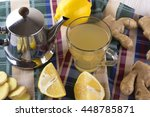 ginger tea with lemon. | Shutterstock . vector #448785871