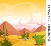 Cartoon Desert Landscape With...