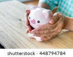 senior woman hand covering...   Shutterstock . vector #448794784