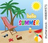 hello summer poster design ... | Shutterstock .eps vector #448809571
