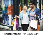 happy couple shopping mall... | Shutterstock . vector #448821634