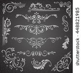 dark flourish border corner and ... | Shutterstock .eps vector #448821985