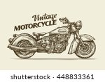 vintage motorcycle. hand drawn... | Shutterstock .eps vector #448833361