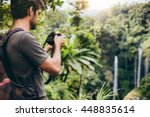 shot of young man with backpack ... | Shutterstock . vector #448835614