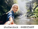 portrait of happy young woman... | Shutterstock . vector #448835689