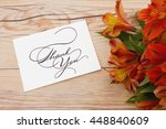 thank you message  some lilies... | Shutterstock . vector #448840609