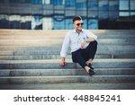 successful fashion male model... | Shutterstock . vector #448845241