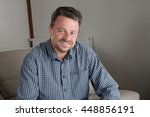 thoughtful middle aged man with ... | Shutterstock . vector #448856191