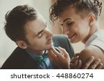 romantic couple portrait | Shutterstock . vector #448860274