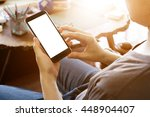 man using mobile smart phone... | Shutterstock . vector #448904407