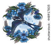 vector color swallow cornflower ... | Shutterstock .eps vector #448917835