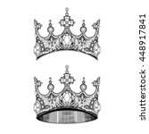 vector black and white crown set | Shutterstock .eps vector #448917841