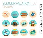 traveling vector icon set.... | Shutterstock .eps vector #448923361
