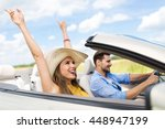 happy couple driving in... | Shutterstock . vector #448947199