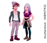 fashion young characters.... | Shutterstock .eps vector #448947931