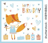 happy birthday card with cute... | Shutterstock .eps vector #448948861