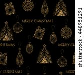 seamless christmas pattern with ... | Shutterstock . vector #448951291