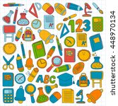 vector doodle set of education... | Shutterstock .eps vector #448970134