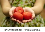 woman holding a red tomato... | Shutterstock . vector #448988461