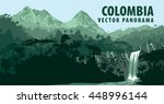 vector panorama with jungle... | Shutterstock .eps vector #448996144