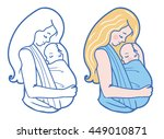 vector babywearing illustration ... | Shutterstock .eps vector #449010871