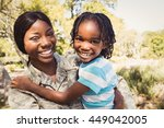 happy family posing together at ... | Shutterstock . vector #449042005