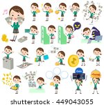 set of various poses of school... | Shutterstock .eps vector #449043055