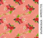seamless floral pattern rose... | Shutterstock .eps vector #449051731