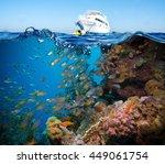 colorful underwater offshore... | Shutterstock . vector #449061754