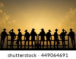 group of cowboys landscape ... | Shutterstock . vector #449064691
