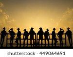 group of cowboys landscape ... | Shutterstock . vector #449064691