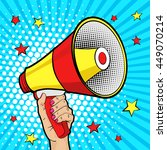 female hand with megaphone.... | Shutterstock .eps vector #449070214