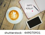 happy monday on paper with...   Shutterstock . vector #449070931
