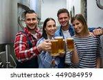 portrait of happy brewers... | Shutterstock . vector #449084959