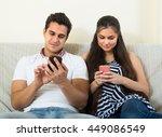 portrait of family couple... | Shutterstock . vector #449086549