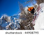 Young Male Freeride Skier Goes...