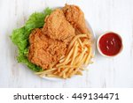 fried chicken and french fries... | Shutterstock . vector #449134471