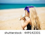 little girl with blond hair... | Shutterstock . vector #449142331