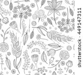 abstract doodle floral pattern. ... | Shutterstock .eps vector #449147311