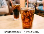 closeup glass of cola with ice... | Shutterstock . vector #449159287