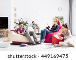 group of students learning... | Shutterstock . vector #449169475