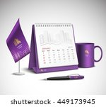 calendar pen flag and cup... | Shutterstock .eps vector #449173945