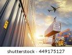 forklift handling container box ... | Shutterstock . vector #449175127