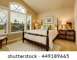 cozy beige bedroom with vaulted ... | Shutterstock . vector #449189665