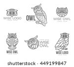 Stock vector set of black and white owl logo templates vector illustration isolated on white background great 449199847