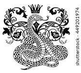 hand drawn vintage snake with... | Shutterstock .eps vector #449201974