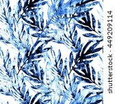 tropical leaves seamless... | Shutterstock . vector #449209114