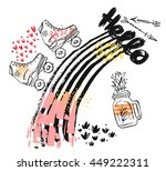 hand drawn vector abstract... | Shutterstock .eps vector #449222311