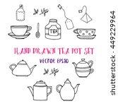 hand drawn tea set with tea... | Shutterstock .eps vector #449229964