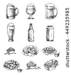 set of icons snacks and beer in ... | Shutterstock .eps vector #449235985